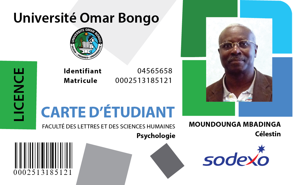 carte d tudiant de l universit omar bongo bc graphics. Black Bedroom Furniture Sets. Home Design Ideas